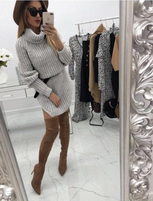 Топла сладка къса рокличка с коланче в сиво