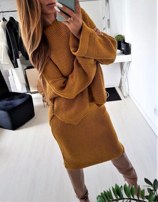 Уникален плетен дамски комплект в цвят горчица
