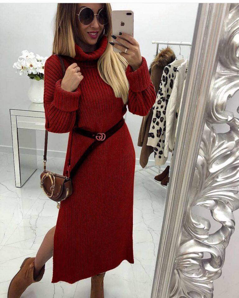 Разкошна плетена дълга рокля с коланче в бордо