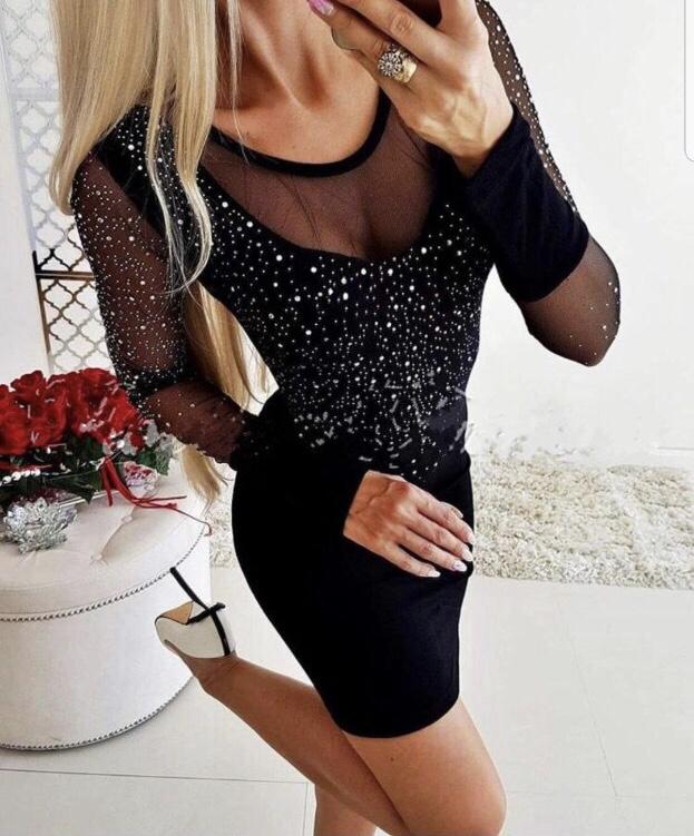 Сладка парти рокличка с фини камъчета и тюлени ръкави