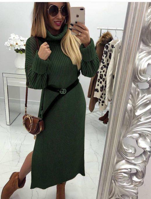 Разкошна плетена дълга рокля с коланче в зелено