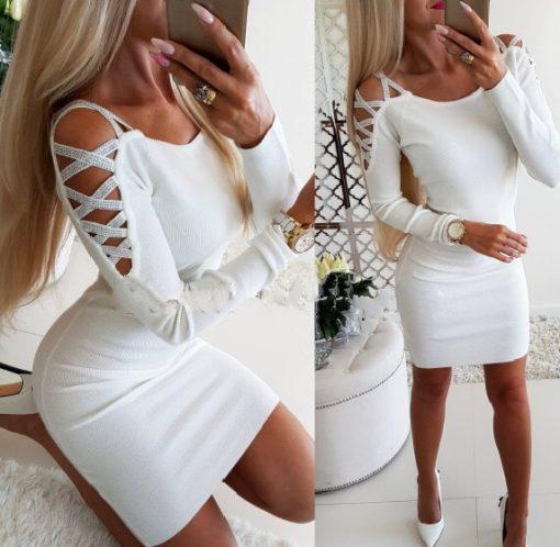 Елегантна дамска рокля с шикозно оформен ръкав с камъчета в бяло