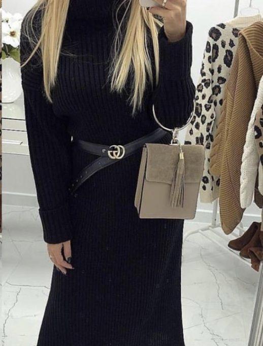 Разкошна плетена дълга рокля с коланче в черно