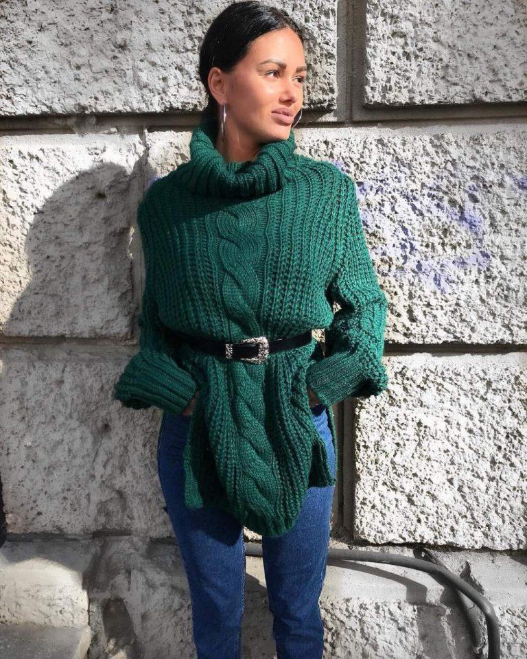 Плетена плътна дамска туника с красив колан в модерно зелено