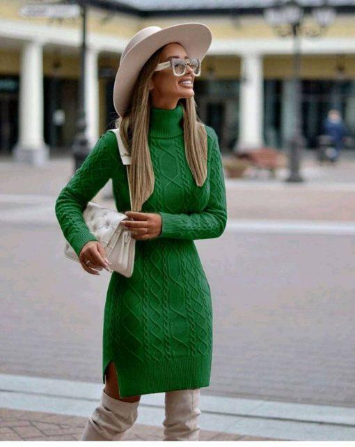 Приятна плетена рокля с чудесна дължина в модерно зелено