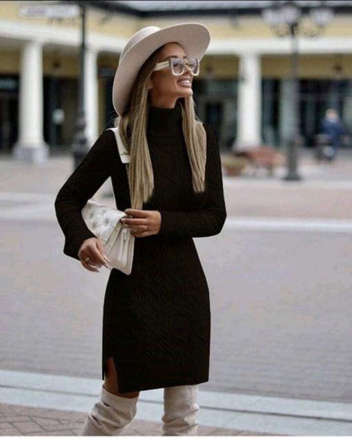 Приятна плетена рокля с чудесна дължина в черно