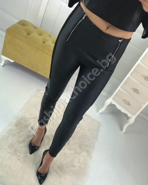 Луксозен кожен панталон с модерен кант и ципове
