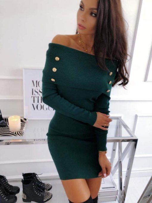 Елегантна рокличка с дълъг ръкав в маслено зелено