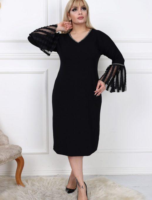 Нежна и елегантна макси рокля с камбана ръкав