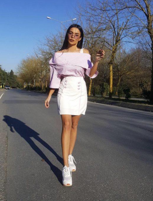 Дамски комплект с поличка и риза в розово райе