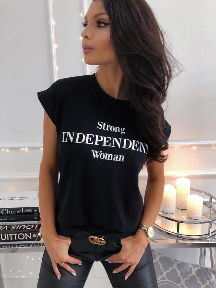 Кокетна дамска къса блузка с надпис ENDEPENDENT