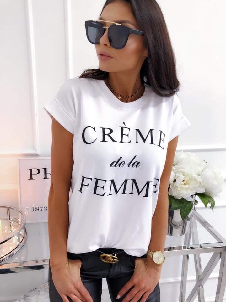 Актуална дамска блузка в бяло с надпис CREME de la FEMME