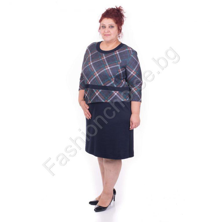 Обаятелна макси рокля с ефектна горна част на цветно каре/54-60/
