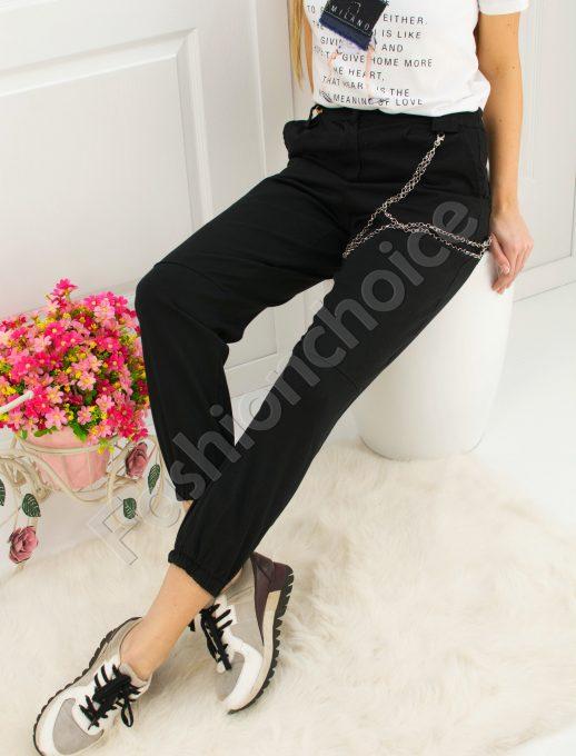 Актуален дамски панталон тип дънки с ефектен синджир
