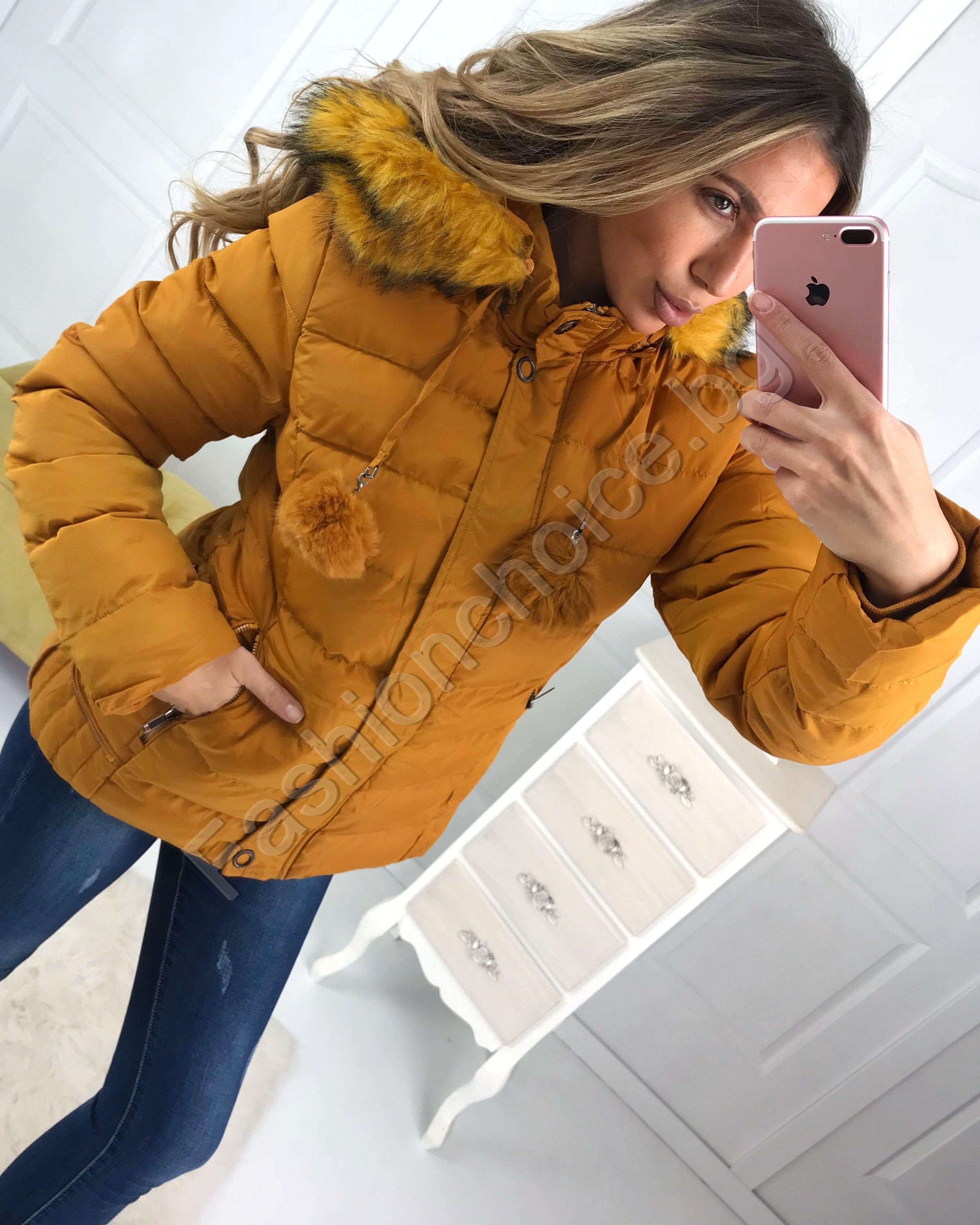 5d0b2415fd1 Топло дамско зимно яке с разкошна качулка от еко косъм в три цвята
