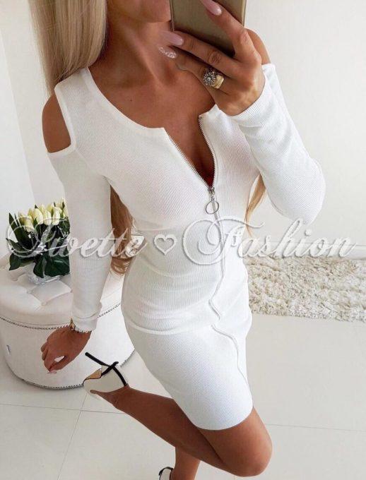 Чудесна дамска рокля с цял цип в бяло