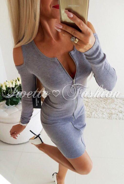 Чудесна дамска рокля с цял цип в сиво