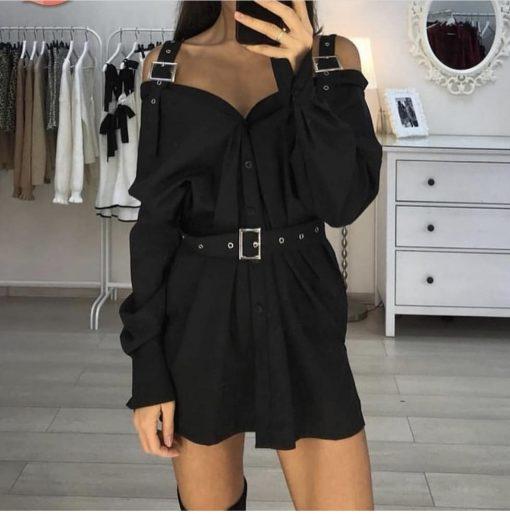 Екстравагантна риза в черно с ефектни катарами и колан