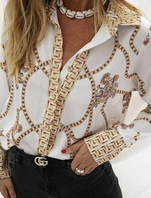 Стилна дамска риза в бяло с мотиви тип Версаче
