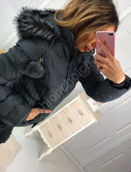 Топло дамско зимно яке с разкошна качулка от еко косъм в два цвята