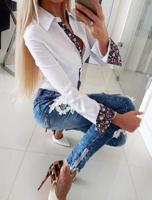 Памучна нежна риза с флорални мотиви в бяло