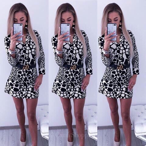 Сладка рокля Емили с ефектен черно/бял десен