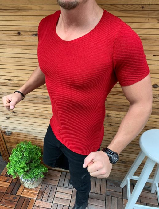 Мъжка блуза Slim Fit в червено