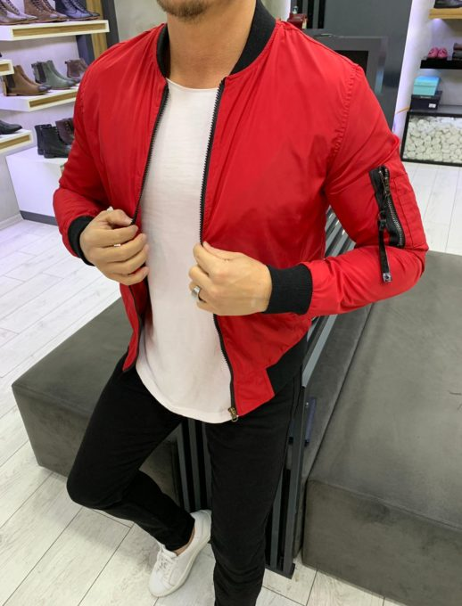 Тънко мъжко шушляково яке с хастар в модерен червен цвят