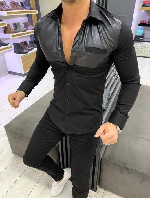 Мъжка риза в черен цвят с кожен акцент