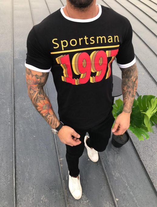 Интересна мъжка тениска с цветен надпис