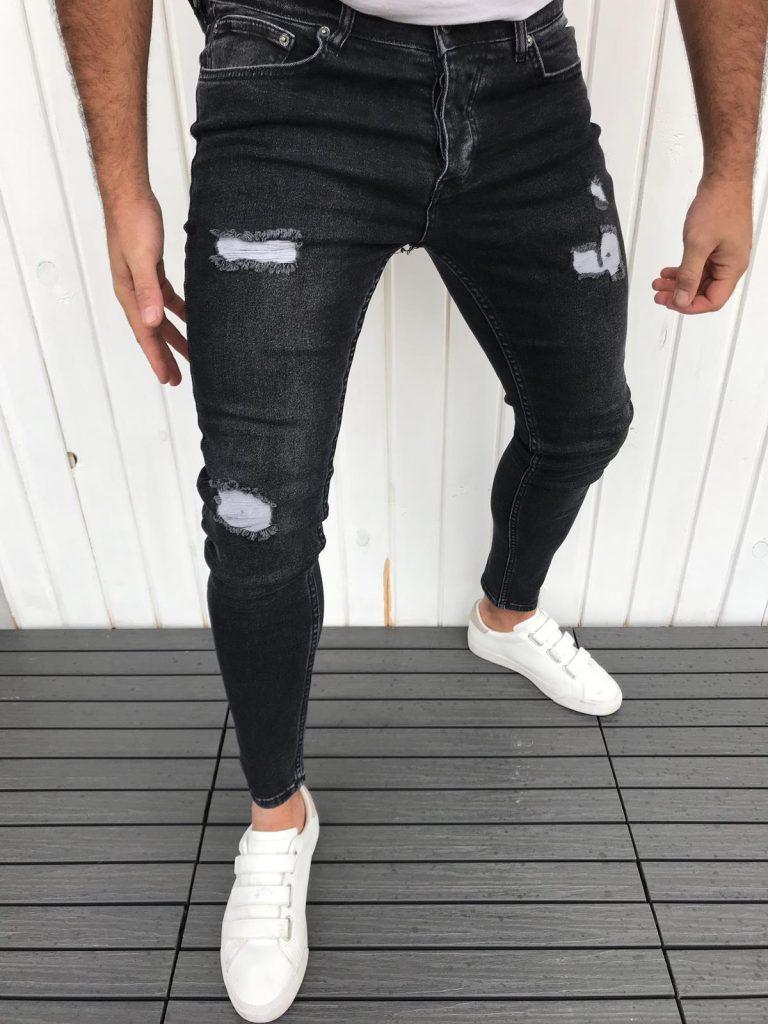 Мъжки черни дънки PASAPORT с модерен надран ефект