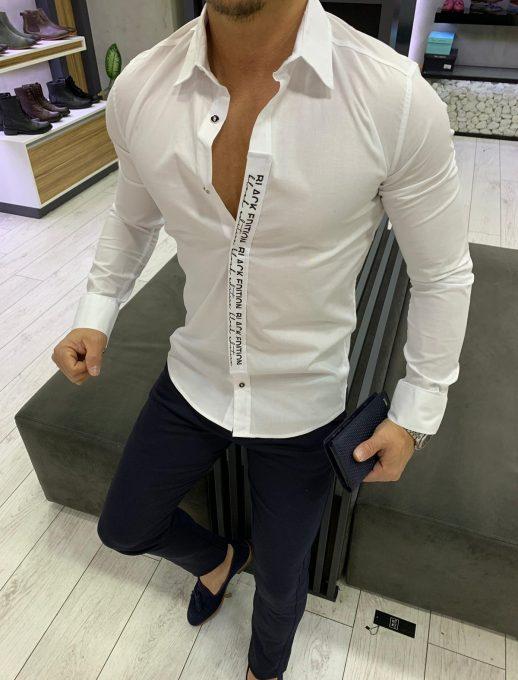 Мъжка риза в бял цвят BLACK EDITION
