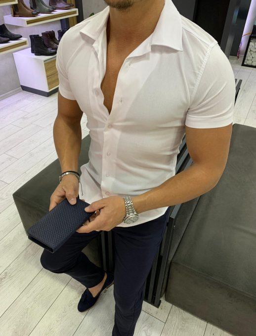 Мъжка риза с къс ръкав и якичка