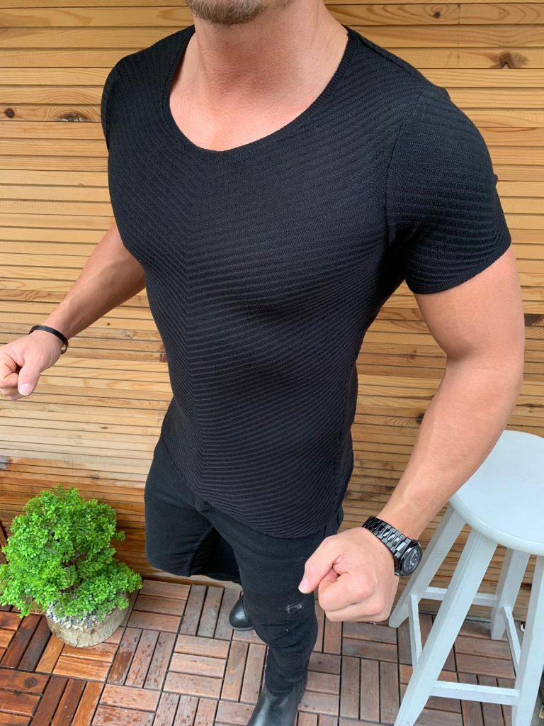 Мъжка блуза Slim Fit в черно