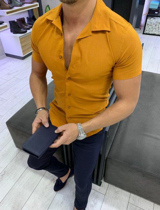 Мъжка риза с къс ръкав и якичка в цвят керемида