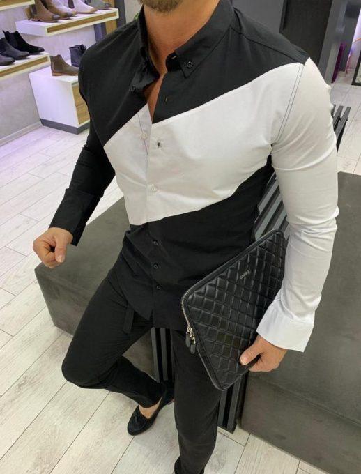 Мъжка риза в черно с контрастен ръкав