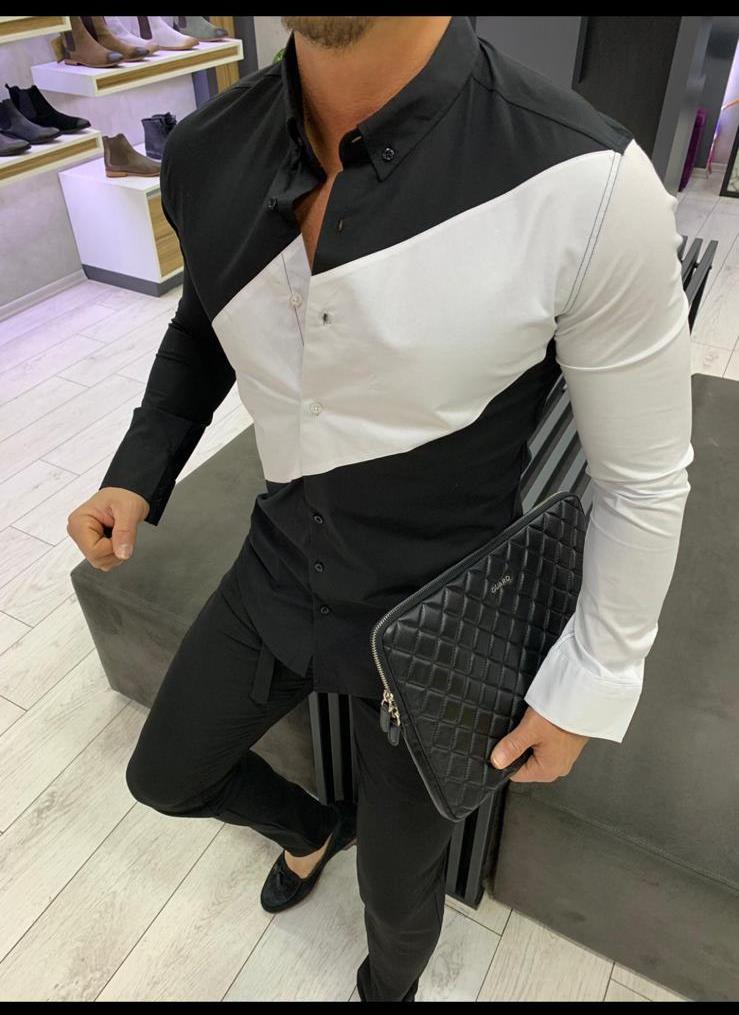 7ef5afa1aa2 Купи онлайн Спортно-елегантна мъжка риза в черно-бял десен