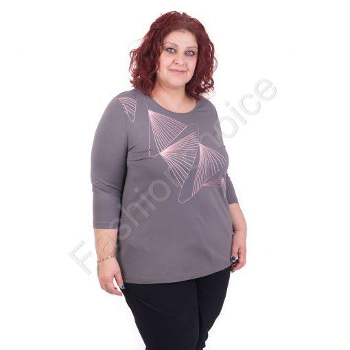 Нов модел макси блуза в сиво с геометрична декорация