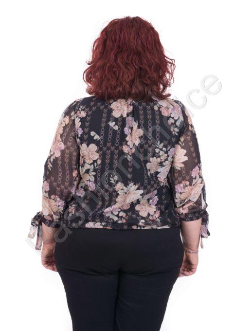 Елегантна макси блуза от шифон с флорален десен