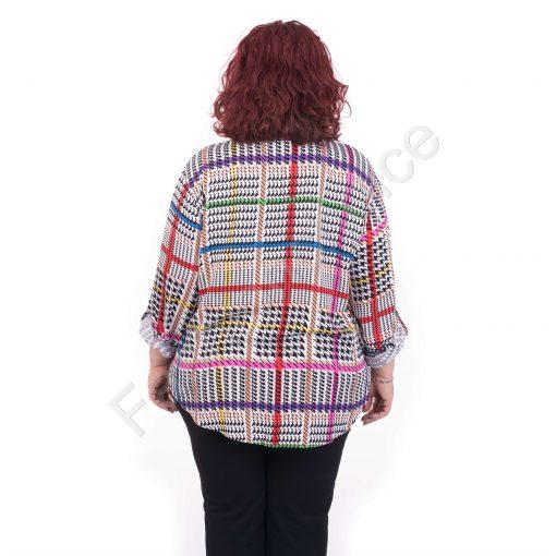 Макси риза със свободна кройка с цветен десен /големи размери/