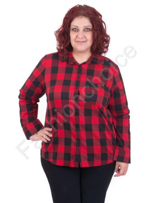 Макси риза на изискано червено каре/56,58,60/