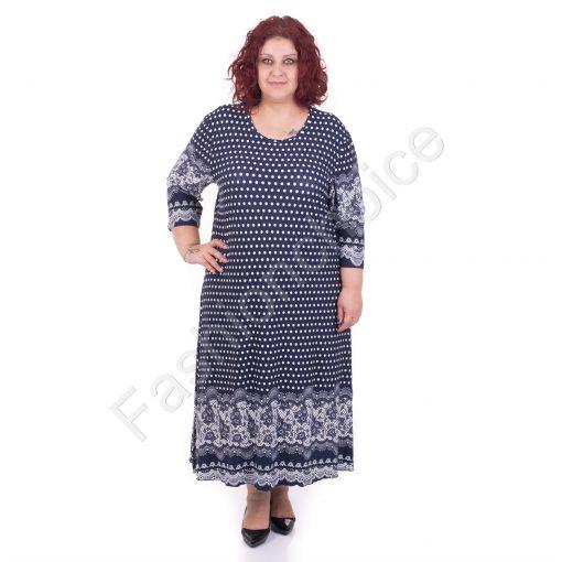 Шикозна макси рокля с красиви мотиви в тъмно синьо/5XL,6XL/