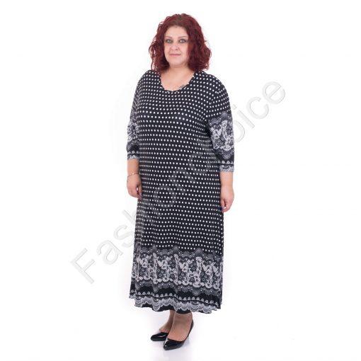 Стилна макси рокля на точки с красиви мотиви/5XL,6XL/