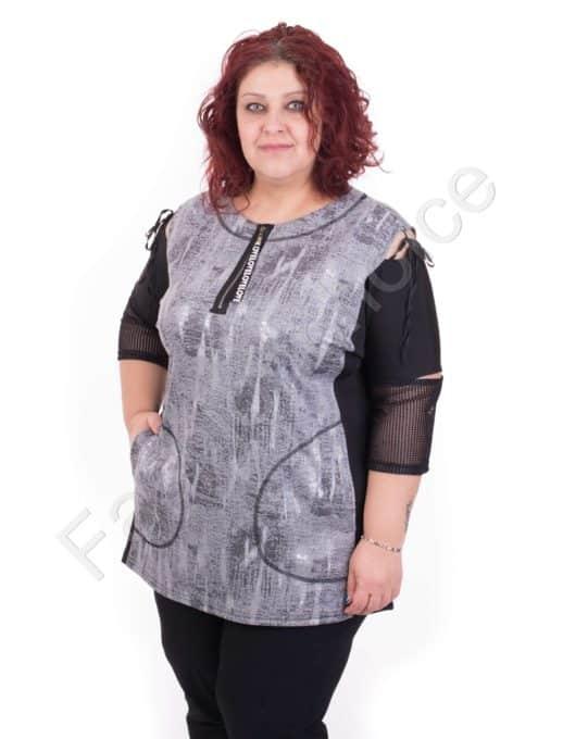 Макси туника в светло сив цвят и голи рамене /големи размери/