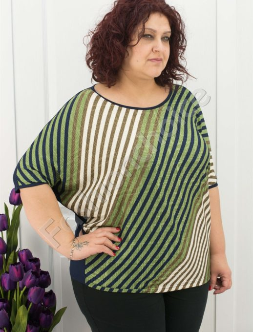 Свежа дамска макси блуза на цветни райета в 3 цвята/3XL,4XL/