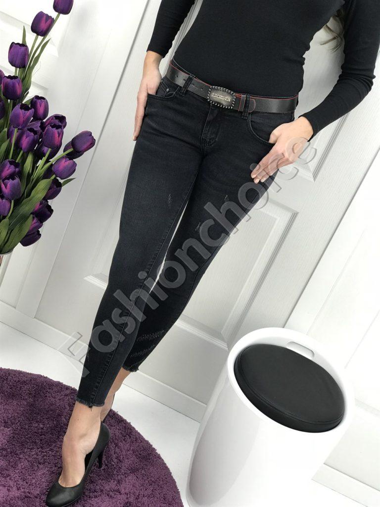 Страхотни дамски дънки Вивиан с коланче в черно