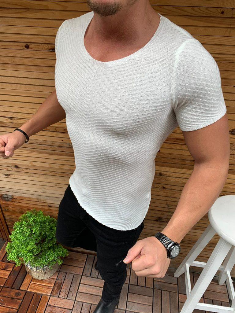 Мъжка блуза Slim Fit в бяло