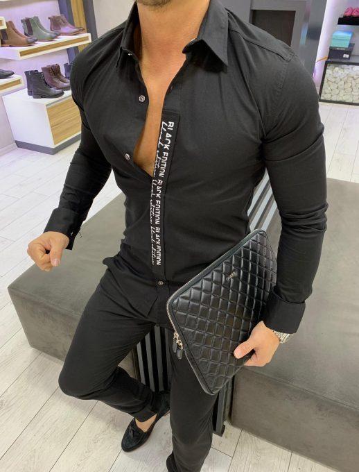 Мъжка риза в черен цвят BLACK EDITION