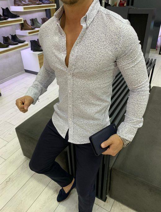 Мъжка риза в бял цвят със стилен флорален десен