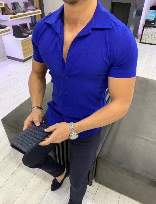 Мъжка риза в кралско синьо с къс ръкав